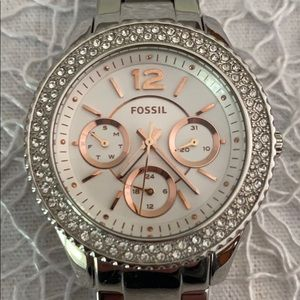 Silver Fossil watch with rose gold and crystals